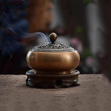 Hjsb Quemador de Incienso de Cobre Puro Quemador de Incienso de Caoba Estatua de Buda Antigua