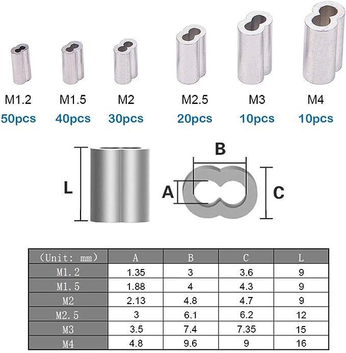 5 pcs alu puntale DIN EN 13411-3 alluminio fune manicotto fune 5mm