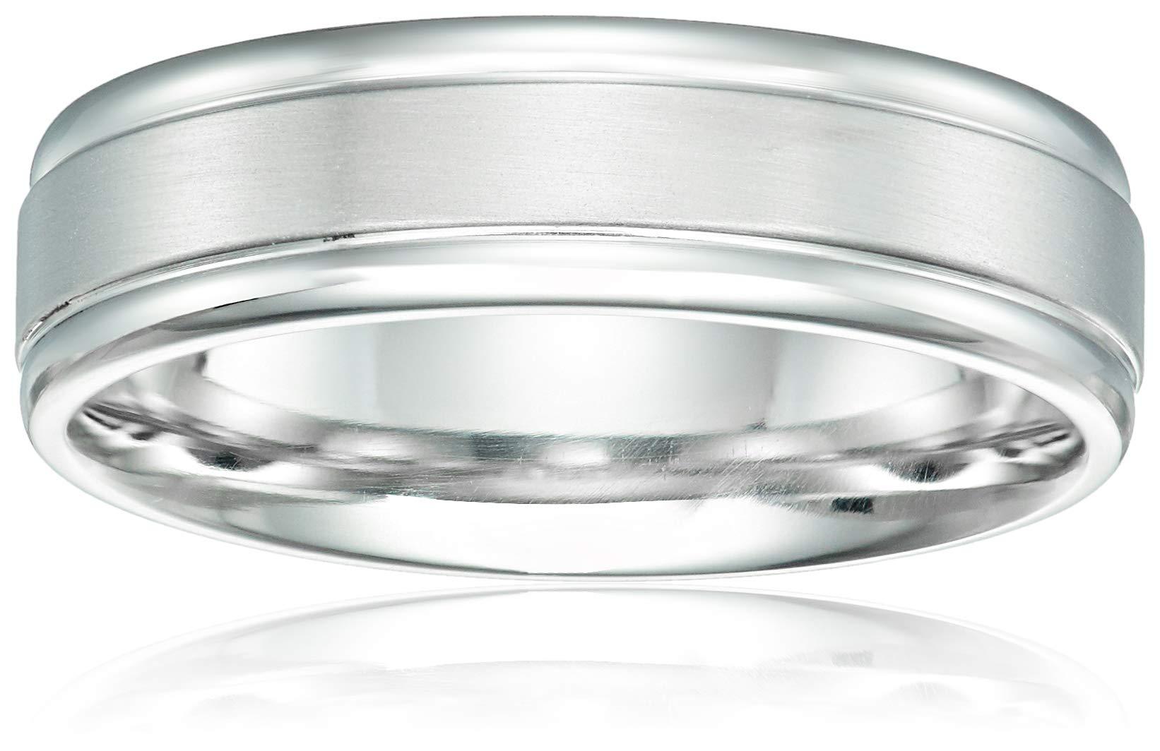 Men's Platinum 6mm Comfort Fit Classic Wedding Band, White, Size 9