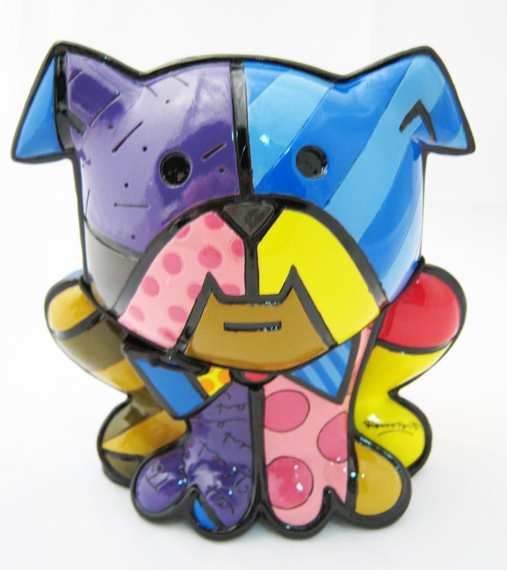 Romero Britto Bulldog Dog Ceramic Sculpture Gift Figurine Collectible PopArt Ltd