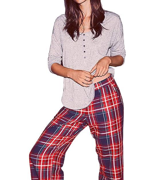 76a8173ecbcab Victorias Secrets The Dreamer Henley Red Blue Plaid Pajama 2 Piece ...