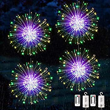 Bcga 4 Packs Firework Lights Copper Wire LED Lights, 8 Modes Dimmable String Fairy Lights with Remote Control, Waterproof Hanging Starburst Lights for Parties,Home,Christmas Outdoor Decoration