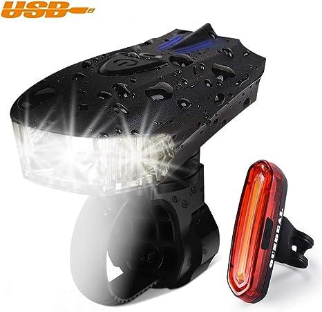 OUNDEAL Luz Bicicleta Set Recargable USB, Impermeable LED Luz ...
