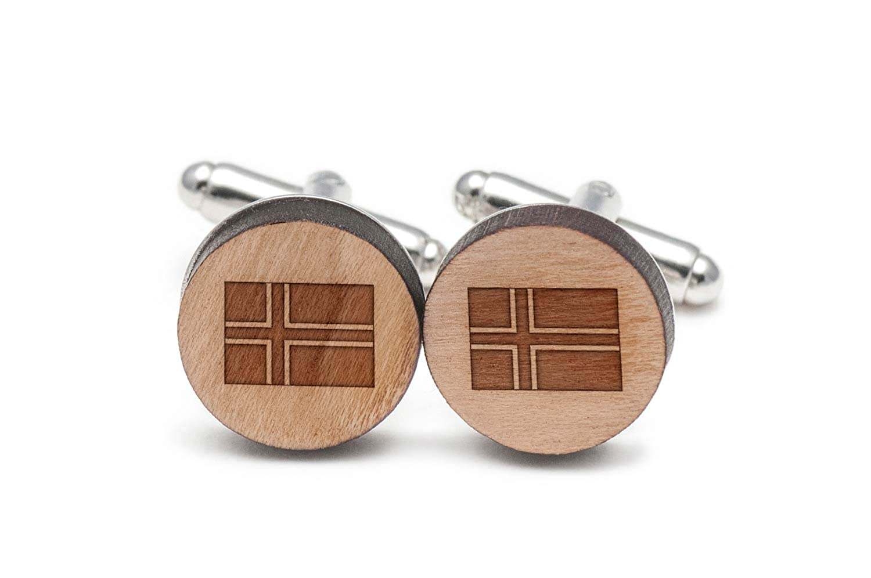 アイスランドの国旗カフスボタン、木製Cufflinks Hand Made In The USA   B06XHB2KSG