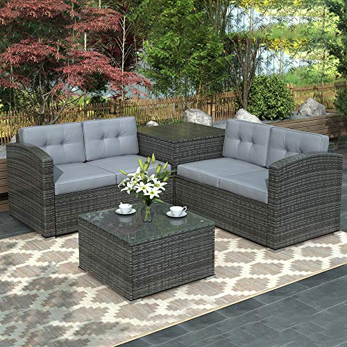 DKLGG Outdoor Patio Furniture Set 4 PCS Patio Furniture PE Rattan Sofa Wicker Couch Set Garden O ...