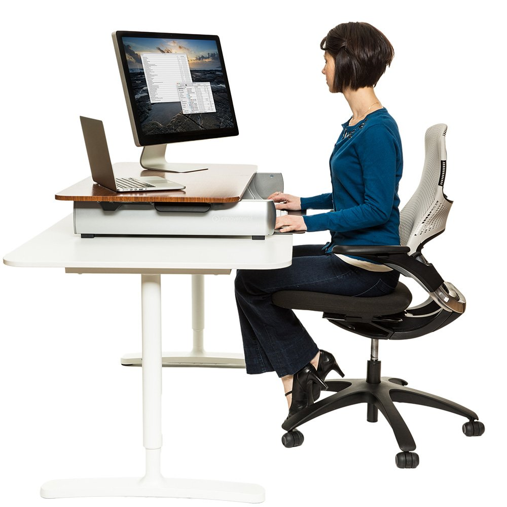 InMovement Standing Desk, Adjustable Heights for Sitting or Standing While You Work, White, 41 X 26