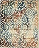 Unique Loom Mystic Collection Vintage Over-Dyed Abstract Blue Area Rug (8′ x 10′)