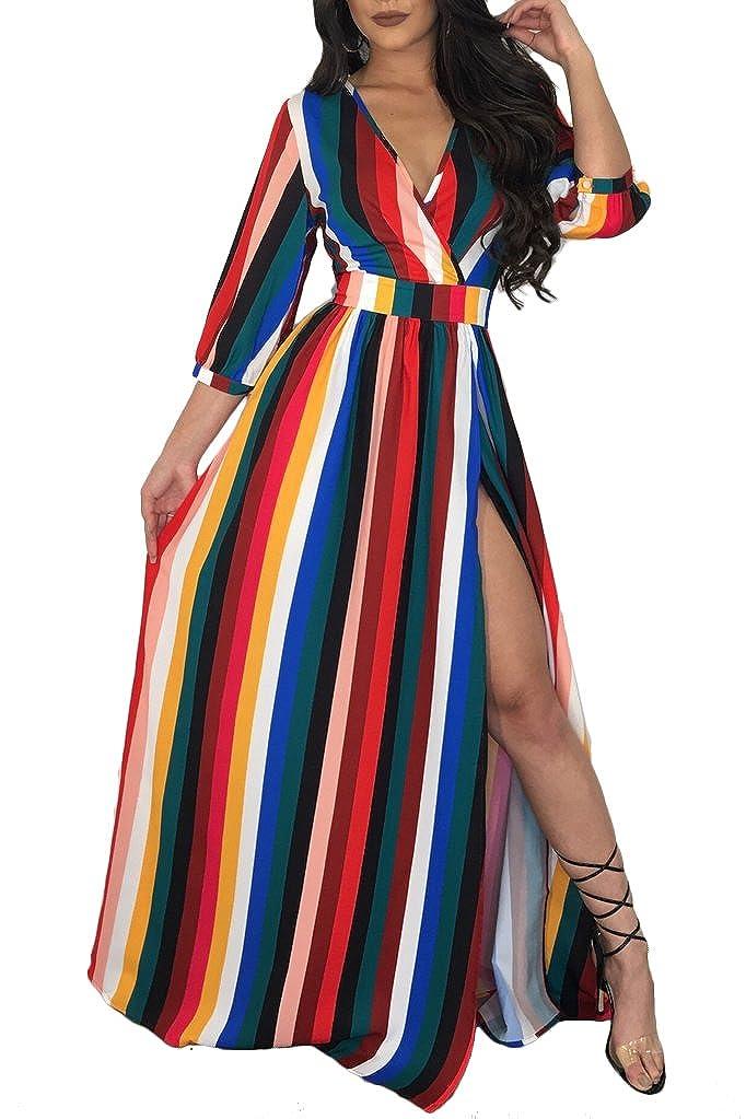 VLUNT Womens Casual Striped Print Long Maxi Dress Short Sleeve Button Down Shirt Dresses