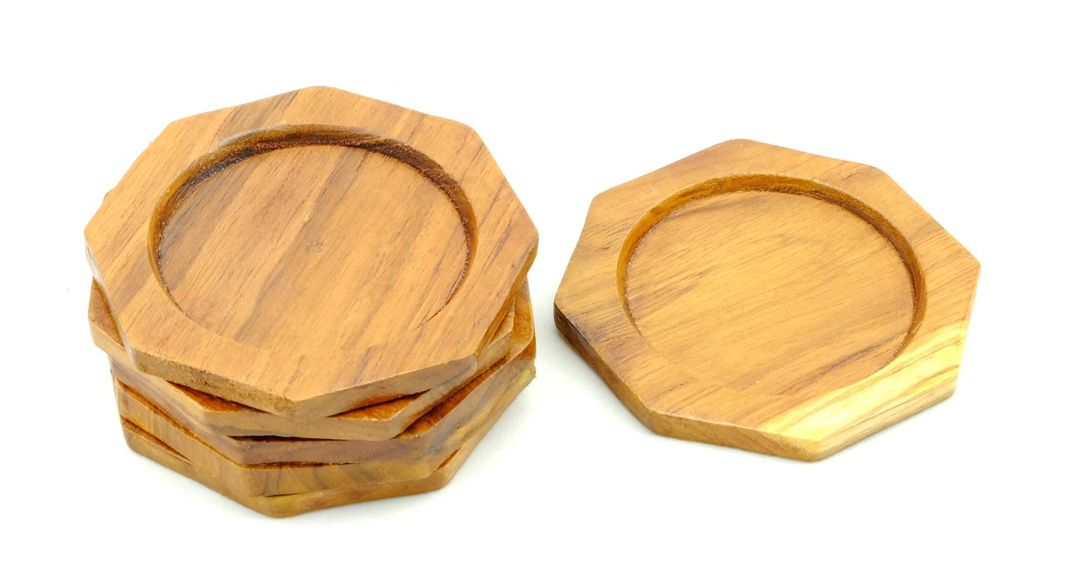 Set of Wood Beverage Coasters By Thai Style Coasters Suitable for Wine Glasses, Beer Bottles, Whiskey Glasses and Any Hot and Cold Drinks. (wood C) by wood coasters