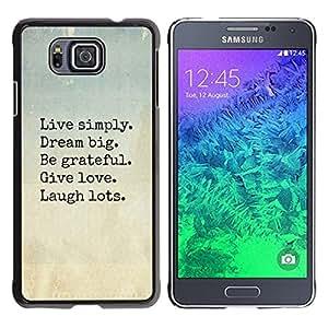 FlareStar Colour Printing Live Dream Love Laugh Motivational cáscara Funda Case Caso de plástico para Samsung GALAXY ALPHA G850