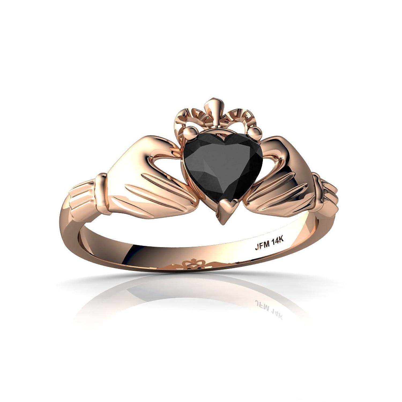 14kt Gold Black Onyx 5mm Heart Claddagh Ring