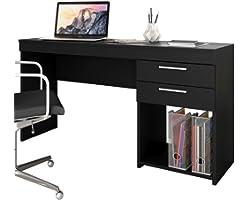 Mesa Escrivaninha Office 2 Gavetas Preto Notável Móveis