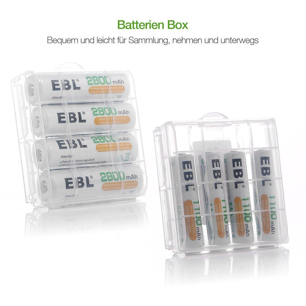 EBL 8-Fach Akkuladegerät für NI-MH AAA AA Akku, intelligentes Batterieladegerät mit 4*AA Akku 2800mAh, 4*AAA Akku 1100mAh