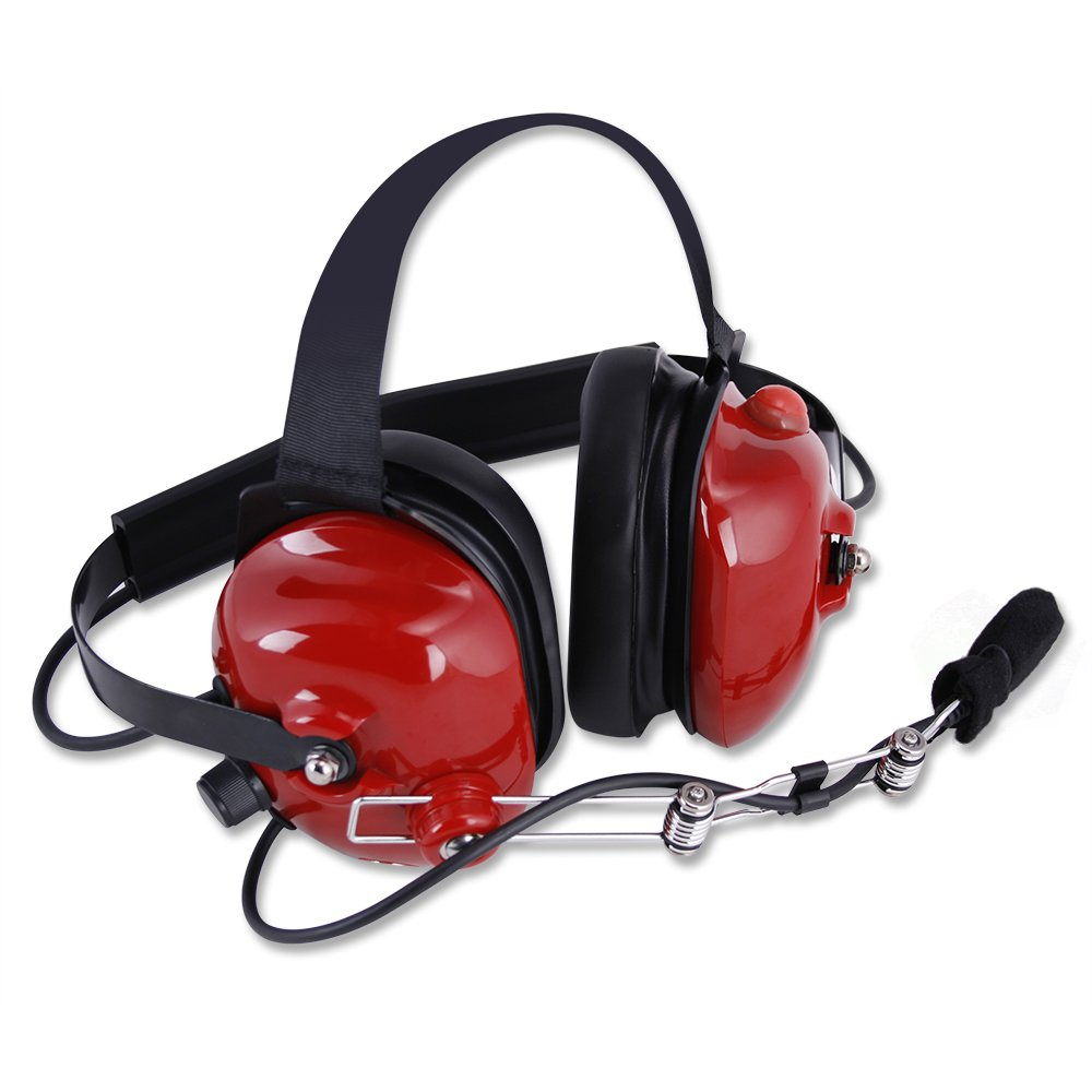 Rugged Radios H42-RED Behind The Head Two-Way Radio Headset with Dynamic Noise Cancelling Microphone, Push to Talk, and 3.5mm Input Jack for Music & MP3 Players