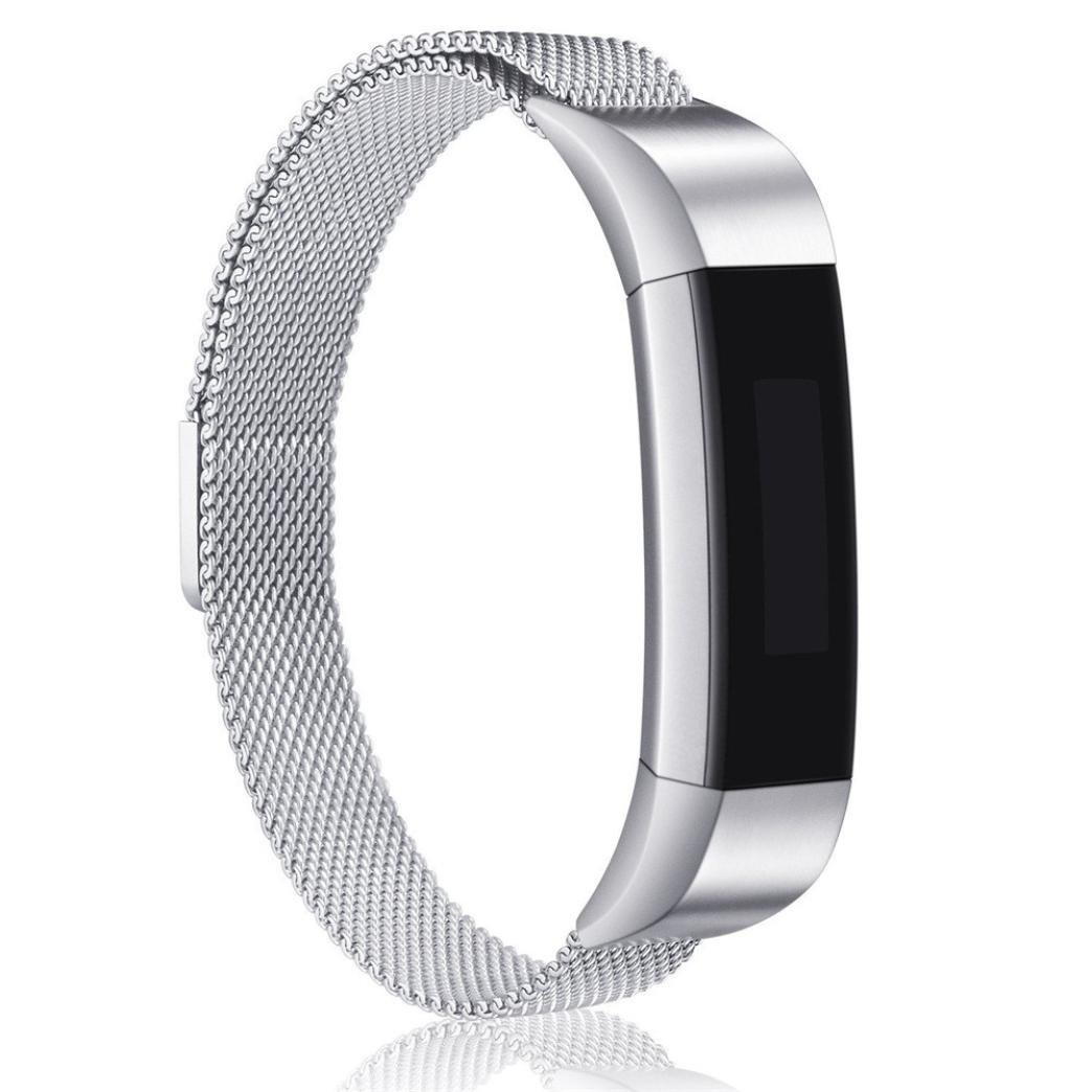 YJYdada Milanese Magnetic Loop Stainless Steel Smart Watch Band for Fitbit Ace (Large, Silver)