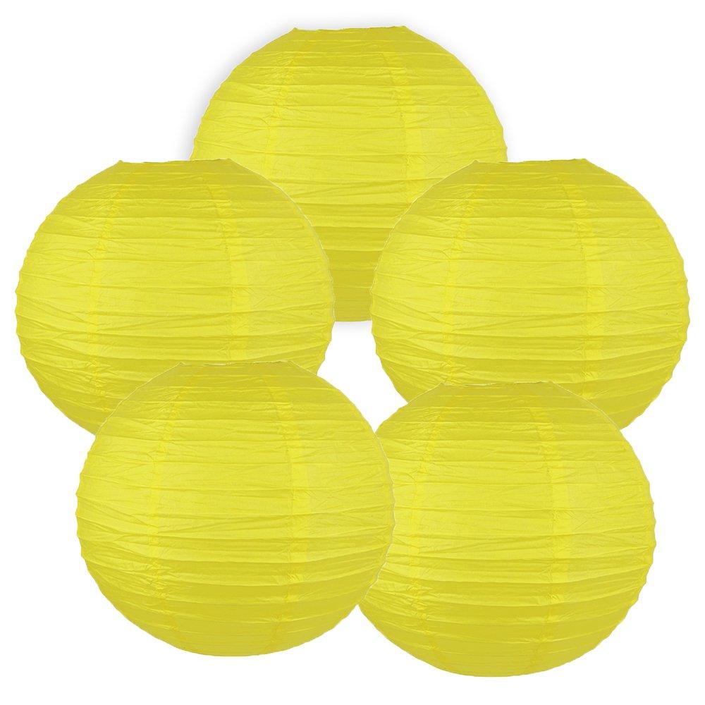 Just Artifacts ペーパーランタン5点セット - (6インチ - 24インチ) 10inch AMZ-RPL5-100012 B01CEX6WTI 10inch|レモンイエロー レモンイエロー 10inch