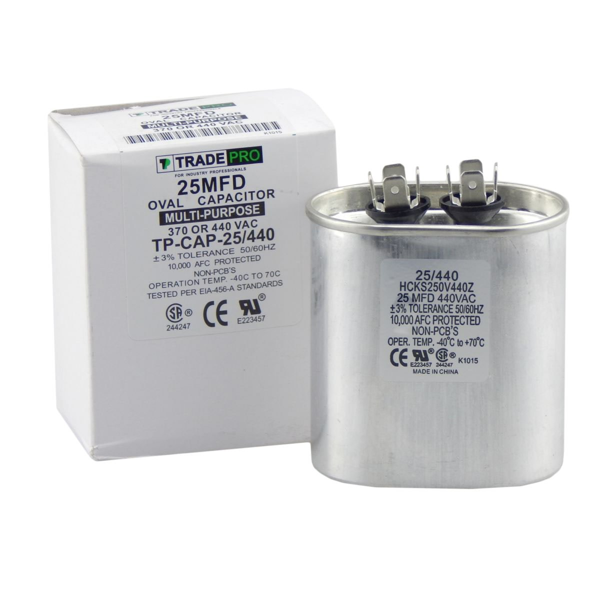 25 mfd Capacitor, Industrial Grade Replacement for Central Air-Conditioners, Heat Pumps, Condenser Fan Motors, and Compressors. Oval Multi-Purpose 370/440 Volt - by Trade Pro