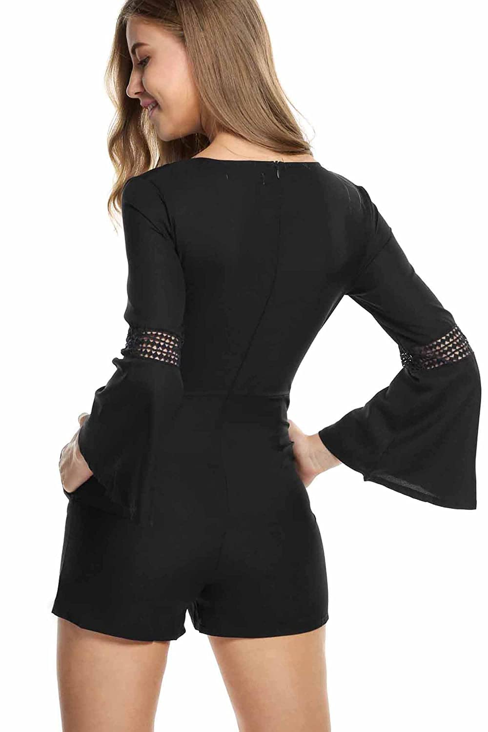 Zeagoo Women's V Neck Crochet Long Sleeve Jumpsuit and Romper With Pockets