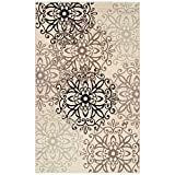 Superior Elegant Leigh Collection Area Rug, 8mm Pile Height with Jute Backing, Chic Contemporary Floral Medallion Pattern, Anti-Static, Water-Repellent Rugs - Beige, 8 x 10 Rug