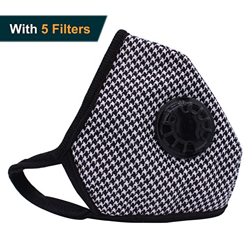 Muryobao Anti Pollution Mask Military Grade N99 Respirator Mask with Valve Replacement Filter Washable Cotton Anti Dust Mouth Mask for Men Women Houndstooth