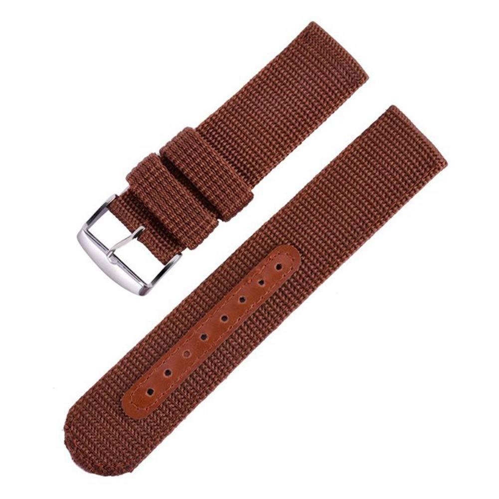 22mm Brown Sports Canvas Watch Band for Sale 2 Piece Nylon Watch Strap Replacement Holes Tightened by Leather Strip
