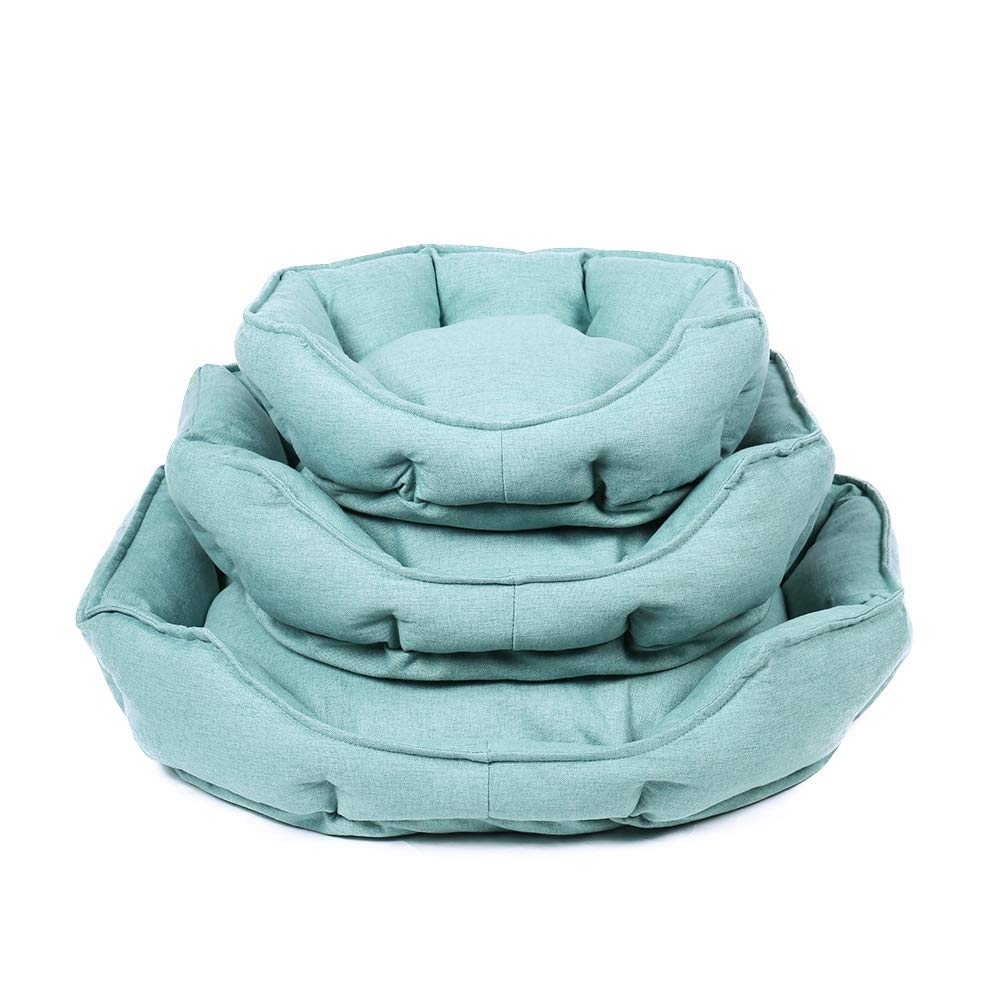 Green M Green M RedGoodThings Pet Dog Sleeping Bed Soft Large Dog House Thick Warm Sofa Kennel Round Pillow Shape Large Dog Cat House Soft Mattress, 2 colors 3 Sizes Large Cushion (color   Green, Size   M)