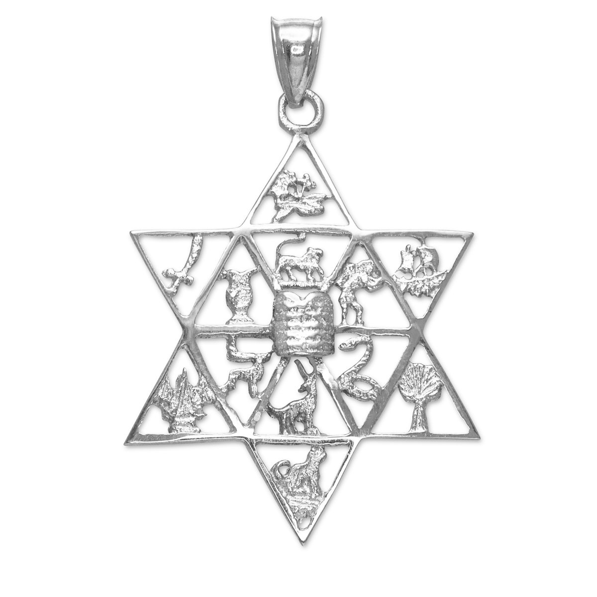 Fine 925 Sterling Silver Jewish Star of David Charm 12 Tribes of Israel Pendant