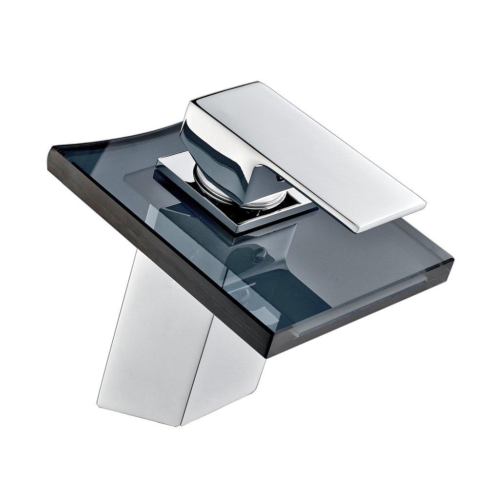 ROVATE Bathroom Waterfall Glass Sink Faucet Single Hole Single Handle Vanity Faucet Polished Chrome