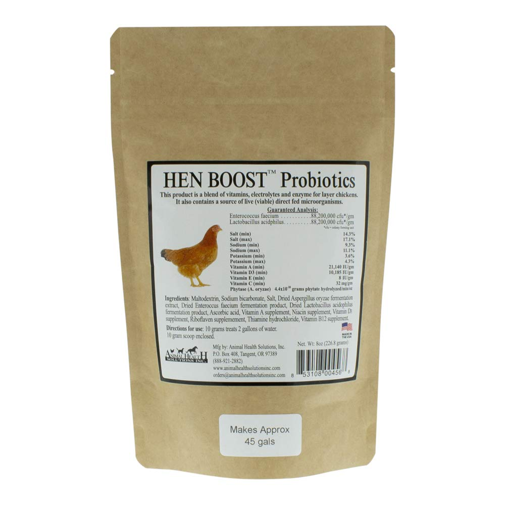 Animal Health Solutions - Hen Boost Probiotics, Help Boost Immunity & Hydration in Full Grown Chickens (8 oz) by Animal Health Solutions