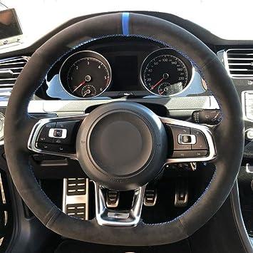 FANGPAN Cubierta del Volante del Coche de Cuero, para Volkswagen ...