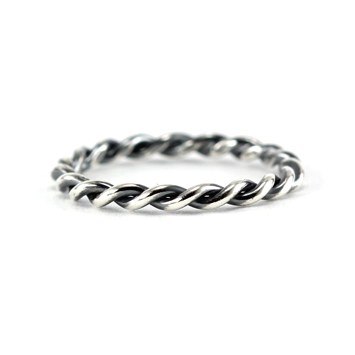 Amazon Com Simple Twisted Ring Band Sterling Silver 14k Yellow