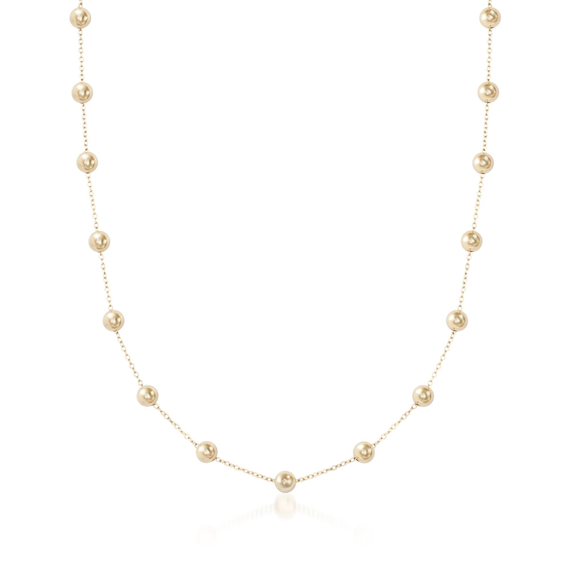 Ross-Simons 6mm 14kt Yellow Gold Over Silicone Bead Station Necklace by Ross-Simons