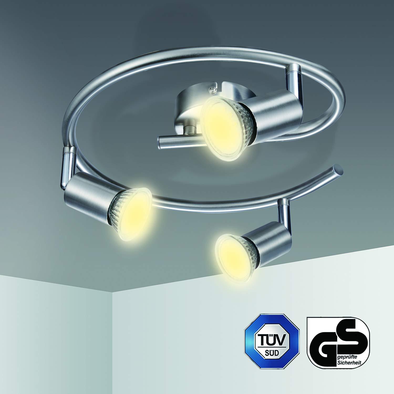 Plafonnier LED 3 Spots Orientables Kimjo 82Ra IP20 Nickel Matt Non Dimmable 3 x 6W Ampoule GU10 Blanc Chaud 550LM Spots Plafond LED Equivalent 54W Lampe Incandescent
