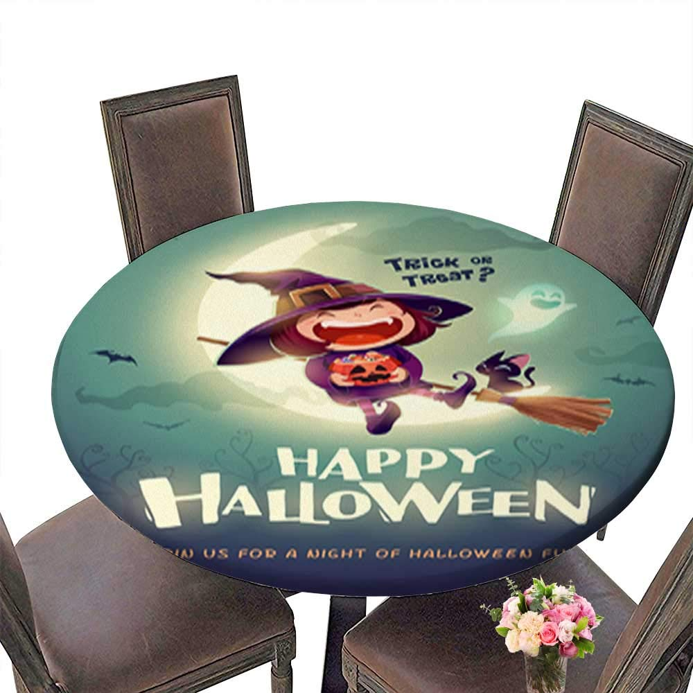 Polyester Round Tablecloths,Happy Halloween Halloween Little Witch Girl Kid in Halloween Costume Sits on t for Indoor and Outdoor Use up to 31.5''-33.5'' Diameter