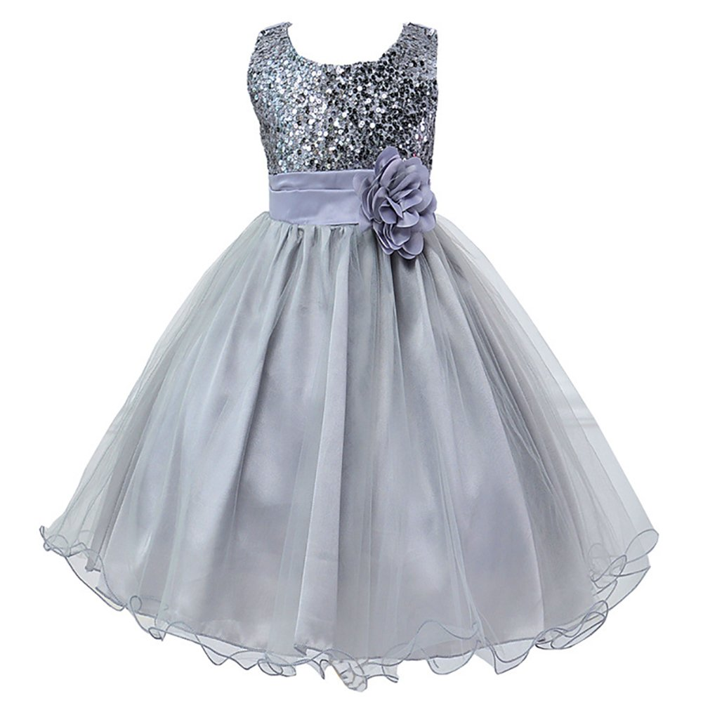 LSERVER Girls Sequinned Dress Flower Princess Sleeveless Formal Party Wedding Bridesmaid Tulle Dresses F2259: Amazon.co.uk: Clothing