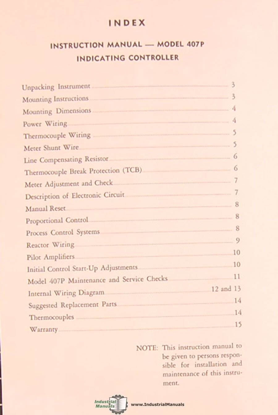 Barber Colman 407p In 12113 7a 6407a Capacitrols Instructions Thermocouple Wiring Diagram Manual Books