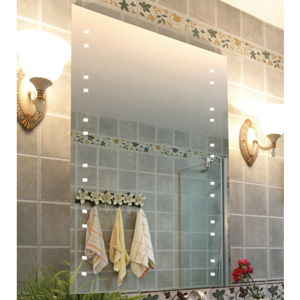 WATSONS STARLIGHT LED Illuminated 80 x 60cm Rectangular Wall Mirror with Demister and Dimmer