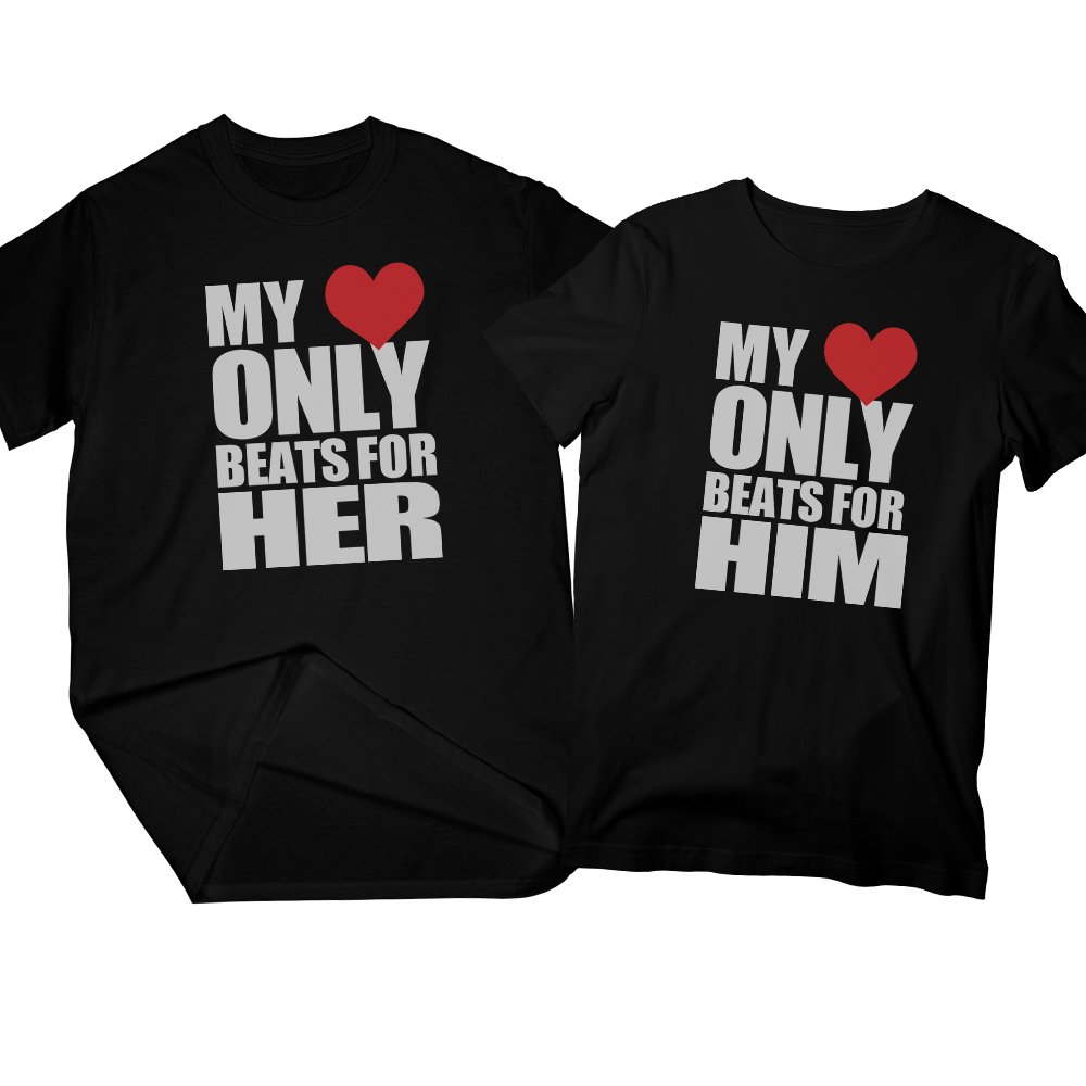 My Heart Only Beats For Him & Her | Matching Couple T-shirts, His and Her T-Shirts - Valentine's Day Christmas Gift for Couple | Large - Medium
