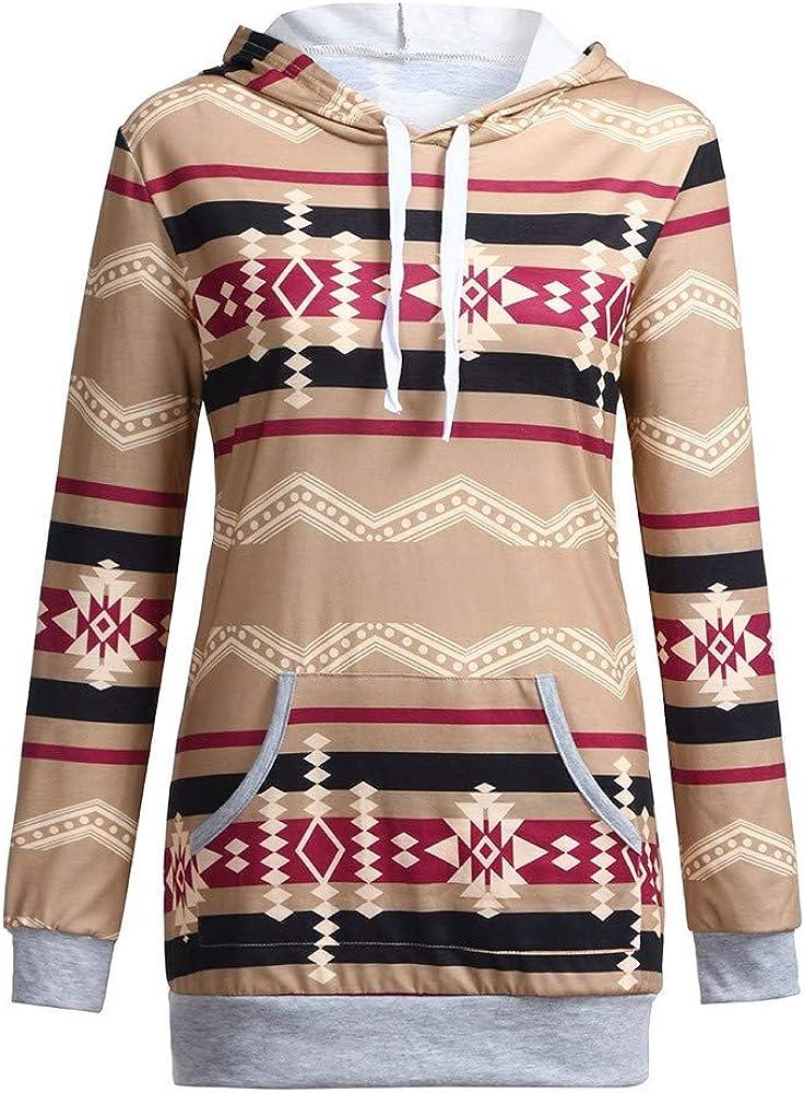 Printed Long Sleeve Bloue Hoodie Shirt Hooded Top with Packet Sweatshirt Women