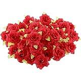 50pz Seta Rosa Fiore Artificiale Foglia Testa Decorazione Casa Matrimonio Partito - Rosso, XL