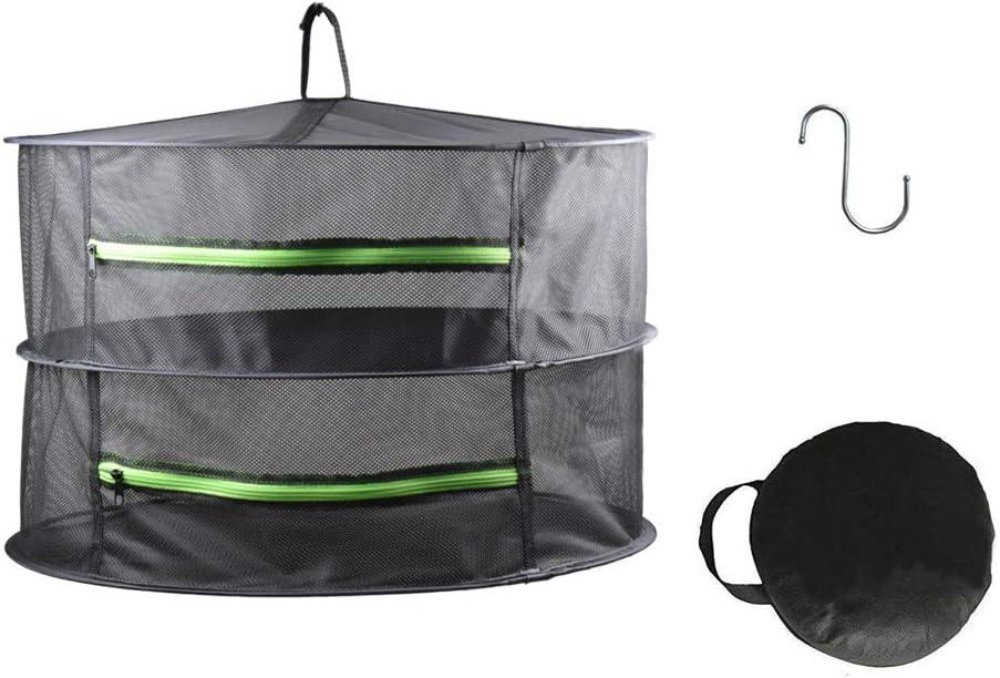 HYDGOOHO 2 Layer 2ft Herb Drying Rack Net Dryer Black Mesh with Green Zippers Hydroponics,Bonus Hook (2Tier-D24xH18inch)
