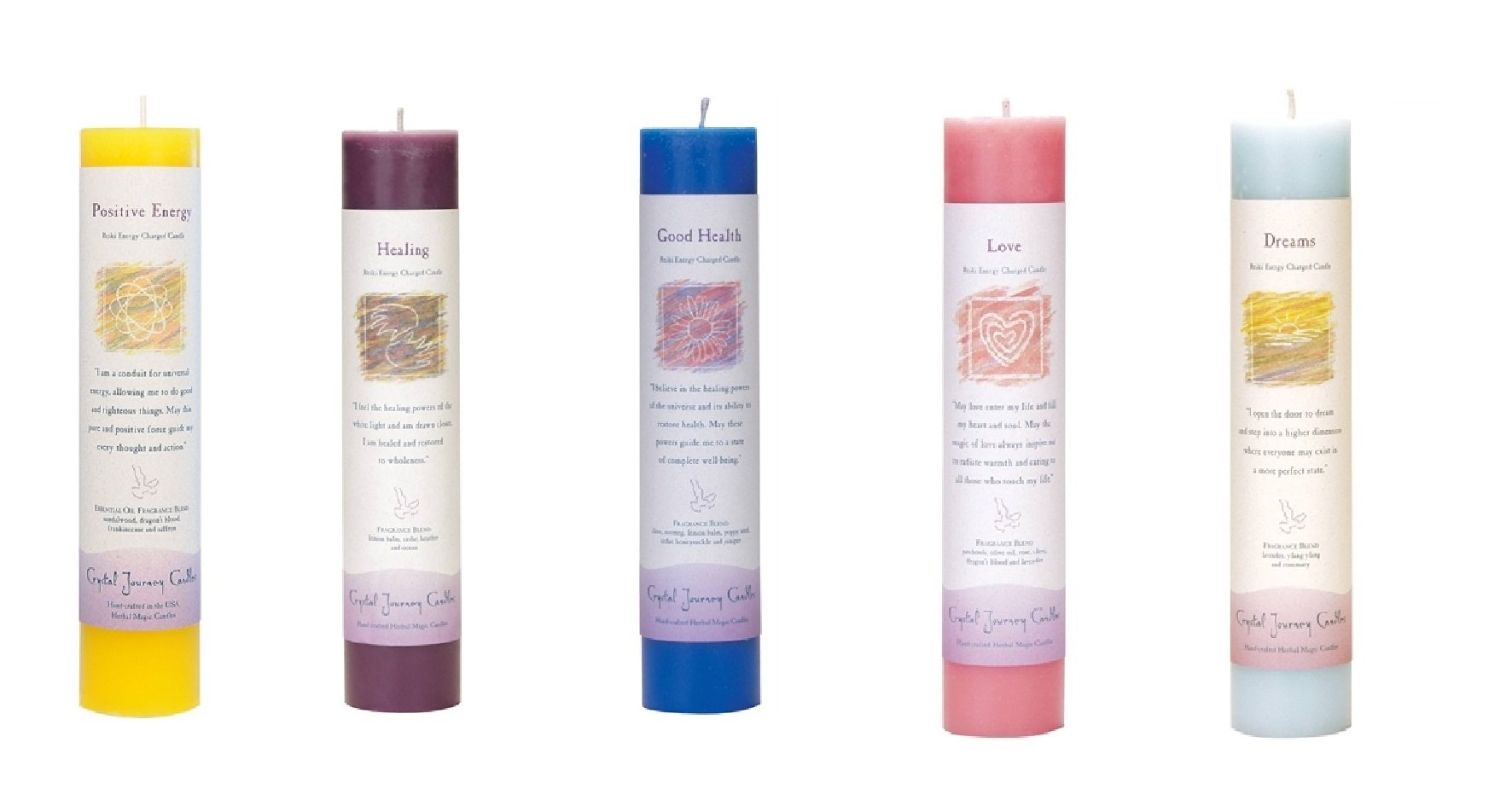 Crystal Journey Reiki Charged Herbal Magic Pillar Candle with Inspirational Labels - Bundle of 5 (Positive Energy, Healing, Good Health, Love, Dreams) Each 7''x1.5'' handcrafted with lead-free materials