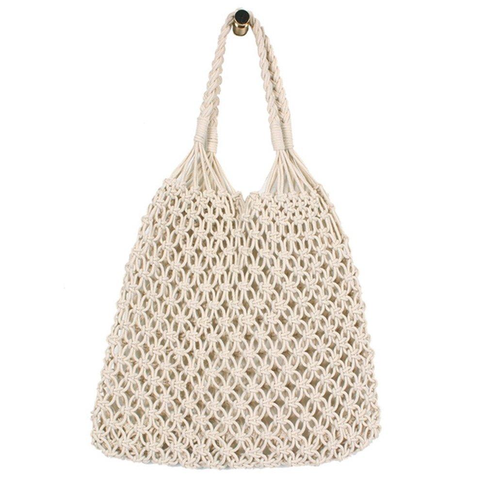 Handmade Woven Cotton Net String Shoulder Bag for Women Chic Summer Handbag Purse White
