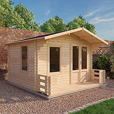 WALTONS-EST-1878-Garden-Log-Cabin-Home-Office-Traditional-Timber-Chalet-Garden-Room-Measures-33m-x-38m-Apex-Roof-complete-with-Floor-Roof-Felt-Includes-10-year-Guarantee-Single-glaze-safety-glass-33x3