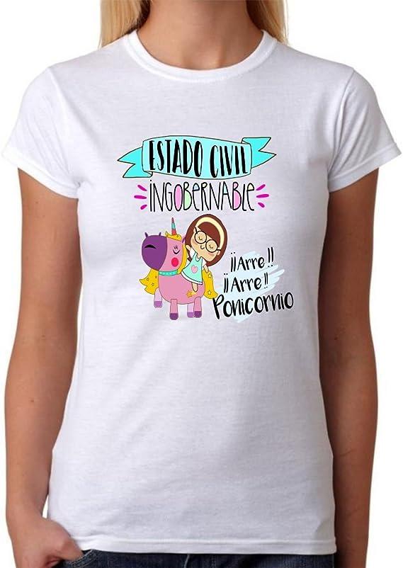 MardeTé Camiseta Estado Civil Ingobernable. Camiseta de Mujer de ponicornio Divertida. Ideal para Destacar Entre Las Amigas. Unicornio