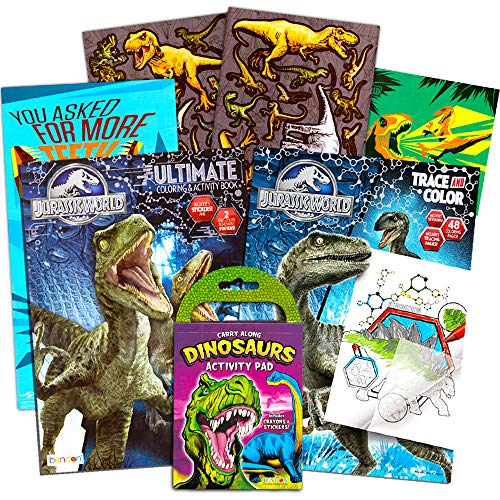 - Jurassic World Coloring Book Set with Stickers and Posters (3 Books)