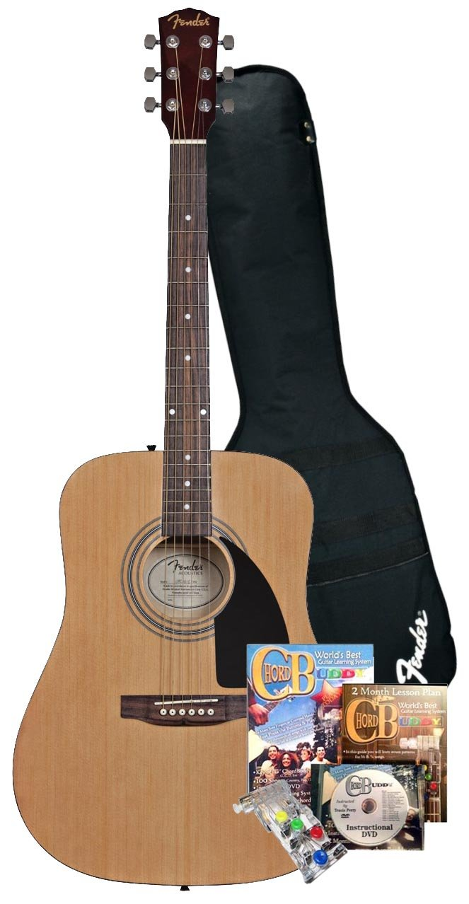 Fender Beginner Acoustic Guitar and ChordBuddy Guitar Learning System and Practice Aid Fender Musical Instruments FA100+ChordBuddy