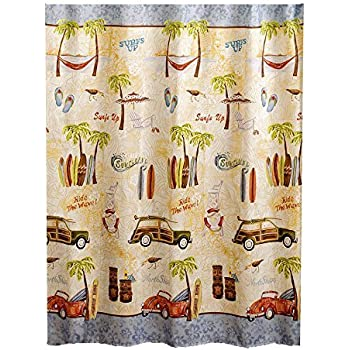Surfboards With Palm Trees On Seaside Polyester Fabric Bathroom Shower Curtain 6072Inch Good