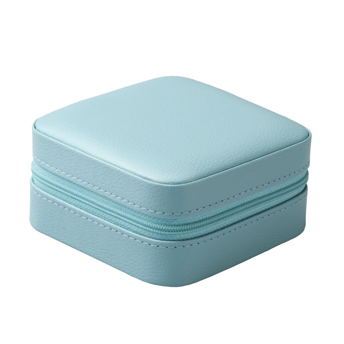 Vlando Small Faux Leather Travel Jewelry Box Organizer Display Storage Case for Rings Earrings Necklace (Blue) by Vlando (Image #2)