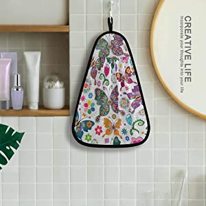 Spring Floral Butterfly Hand Bath Towel Hanging Tie Towels Quick Dry Cotton Kitchen Dish Cleaning Towels Cloth for Kitchen Bathroom Mudroom Laundry Room